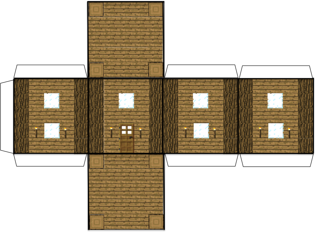 Minecraft paper house (wooden) (click to enlarge this image) and